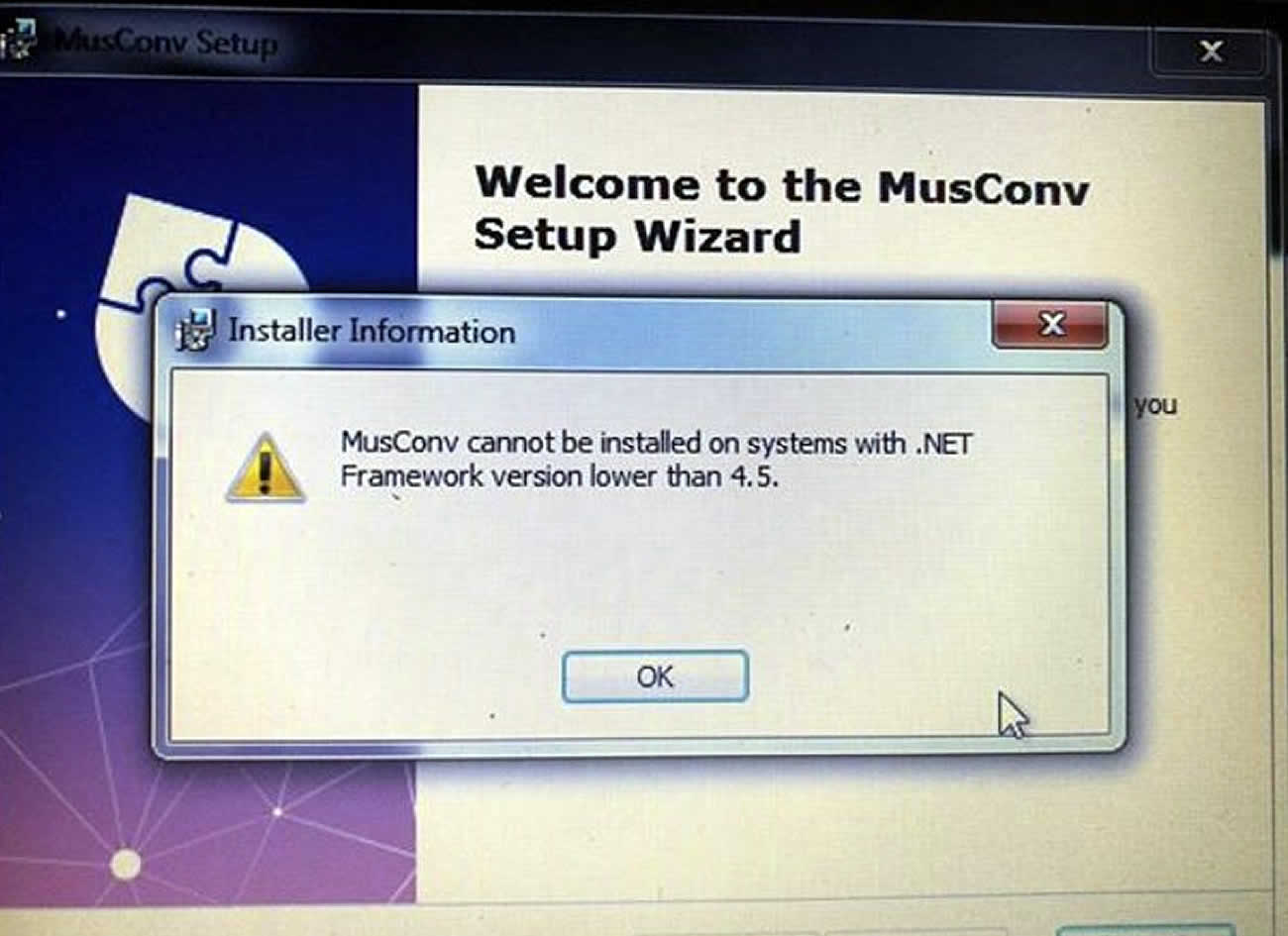 Musconv interface cannot install