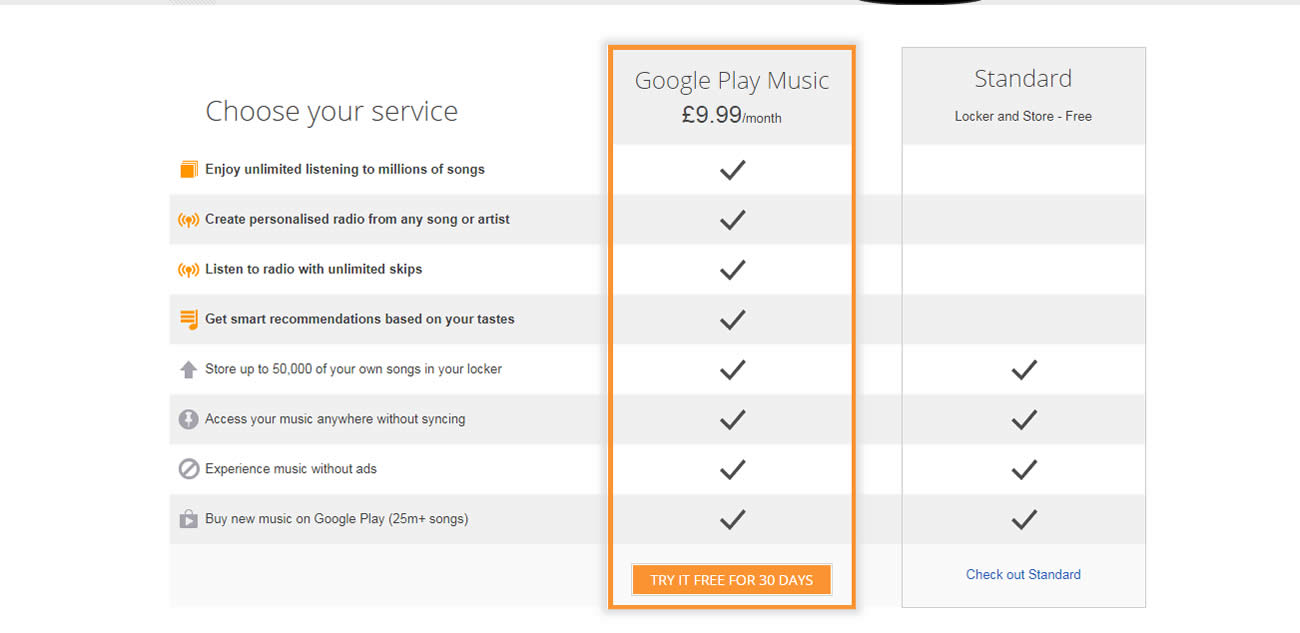 Choose your service google play